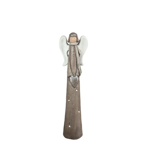 "30.25"" LED Lighted Eco-Friendly Angel with Heart Christmas Tabletop Figure"