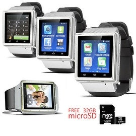 Indigi® (Factory Unlocked) 3G Bluetooth Sync Android 4.4 KitKat SmartWatch and Phone + Camera w/ 32gb microSD Included