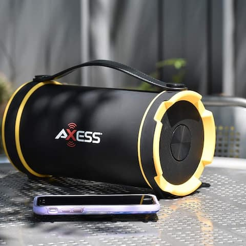 """Axess Portable Bluetooth Indoor/Outdoor 2.1 Hi-Fi Cylinder Loud Speaker with Built-In 4"""" Sub and FM Radio, SD Card, AUX Inputs"""