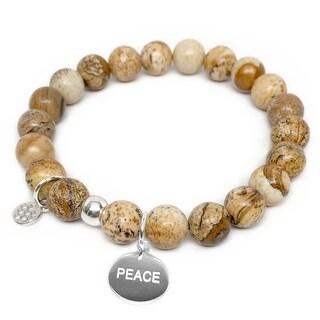 "Brown Jasper Peace Silver Charm Lucy 7"" Bracelet"