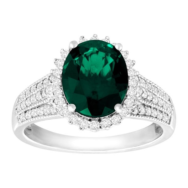 3 ct Created Emerald & White Sapphire Ring in Sterling Silver