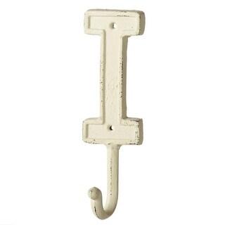 "Set of 4 Ivory ""I"" Shaped Rustic Decorative Iron Wall Hooks with Holes 7.5"""
