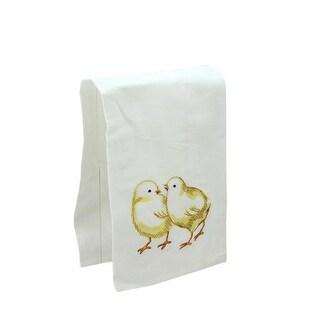 "27"" Decorative Embroidered Style Chicken Flour Sack Kitchen Hand Towel - White"