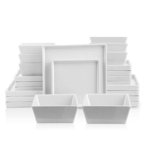 Grace Matte Stoneware Dish Set, Square Dishes