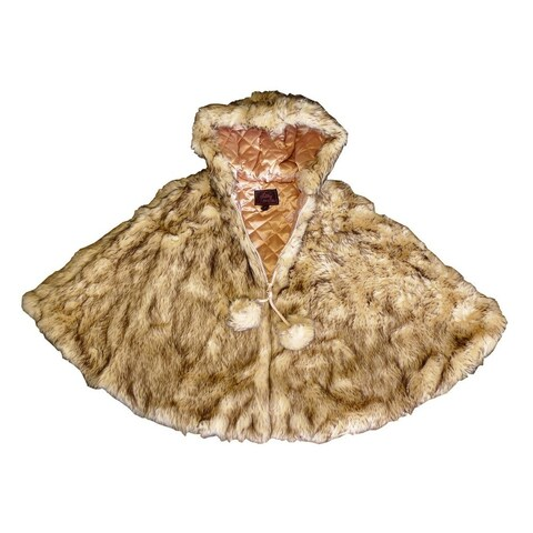 Little Girls Crystal Fox Faux Fur Poncho 1T-6
