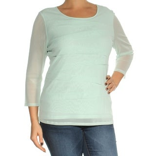 Womens Aqua 3/4 Sleeve Scoop Neck Top Size L
