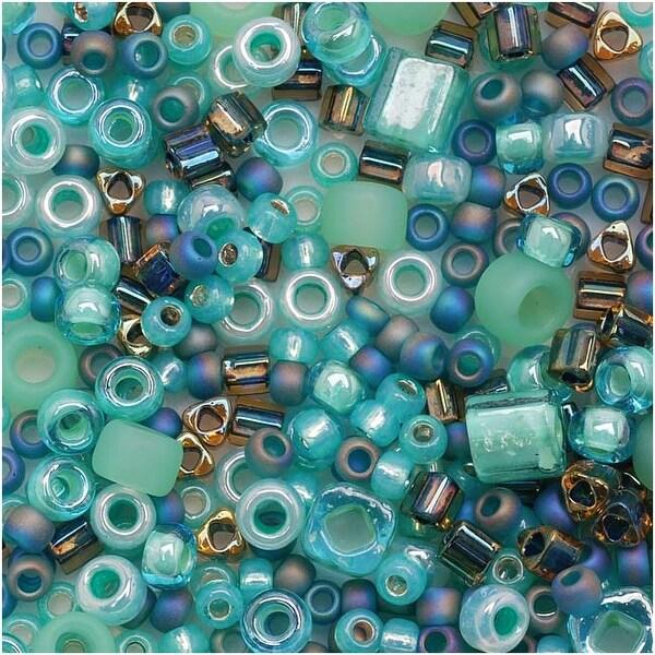 Toho Multi-Shape Glass Beads 'Take' Seafoam/Green Color Mix 8 Gram Tube