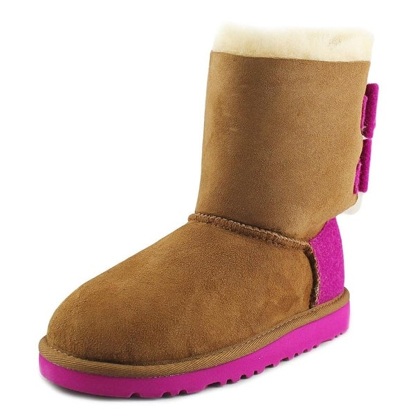 Ugg Australia Bailey Bow Wool Youth  Round Toe Suede Multi Color Winter Boot