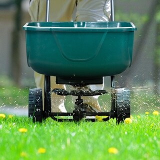 Gymax Broadcast Spreader Builder Garden Seeder Push Walk Behind Fertilizer Green