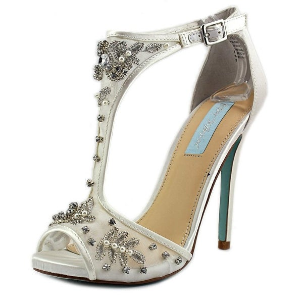 Betsey Johnson Holly Women Open Toe Canvas White Sandals