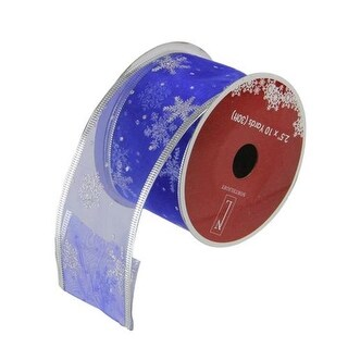 """Royal Blue and Silver Glitter Snowflakes Wired Christmas Craft Ribbon 2.5"""" x 10 Yards"""