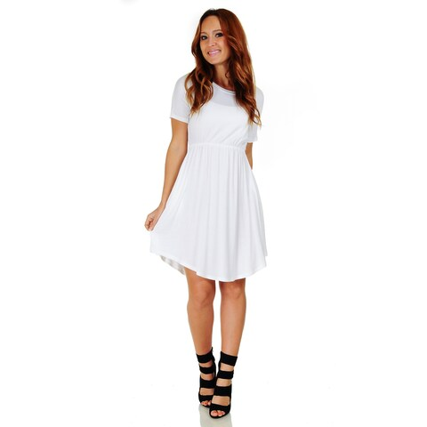 Simply Ravishing Women's Short Sleeve Casual Knee Length Blouson Dress (Size: S-3X)