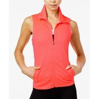 Tommy Hilfiger Womens Large Perforated Zip Front Vest