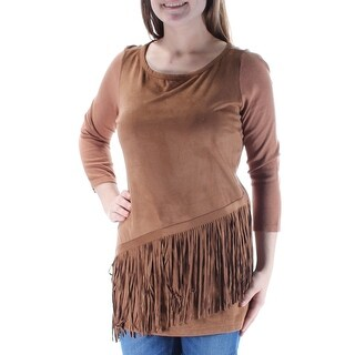 Womens Brown 3/4 Sleeve Jewel Neck Casual Top Size M
