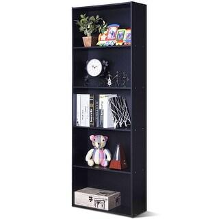 Costway 5-Shelf Storage Bookcase Modern Multi-Functional Display Cabinet Furniture Black