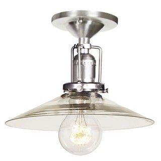 """JVI Designs 1202-17-S1 Union Square 1 Light Semi-Flush 7.25"""" Tall Ceiling Fixture with Clear Mouth-Blown Glass Shade"""