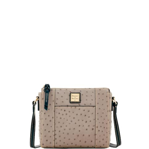 Dooney & Bourke Ostrich Embossed Leather Lexington Crossbody Shoulder Bag (Introduced by Dooney & Bourke in Aug 2017)