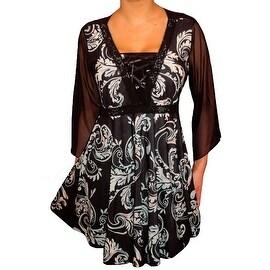 Funfash Plus Size Corset Style Black Aqua Blue Womens Top Shirt Blouse