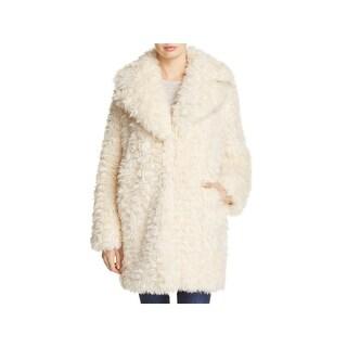 Kendall + Kylie Womens Faux Fur Coat Winter Warm