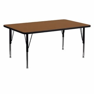 Offex 24''W x 60''L Rectangular Activity Table with  High Pressure Oak Laminate Top and Height Adjustable Pre-School Leg