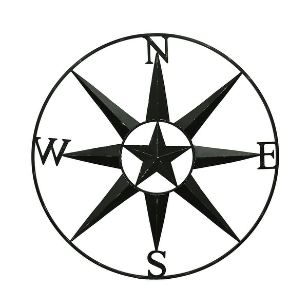Shop Compass Rose Western Star Black Distressed Metal Wall Hanging