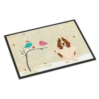 Carolines Treasures BB2493MAT Christmas Presents Between Friends Basset Hound Indoor or Outdoor Mat 18 x 0.25 x 27 in.