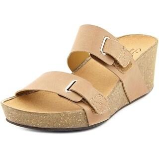 Clarks Auriel Fin Women Open Toe Leather Tan Wedge Sandal