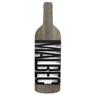 "Brewster U78507B  Tinley 4-5/8"" x 16-1/4"" ""Malbec"" Food and Beverage Wooden Wall Art - Black / Brown"