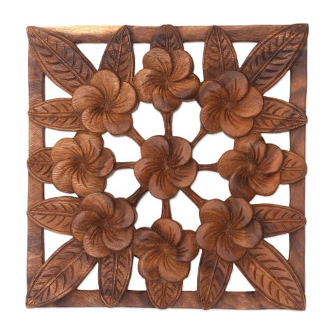 "Handmade Interconnected Jepun Wood Relief Panel (Indonesia) - 11.75"" L x 11.75"" W x 0.8"" D"