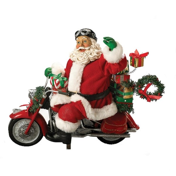 "10.5"" Fabriché Motorcycle Santa with Presents Christmas Table Top Decoration"