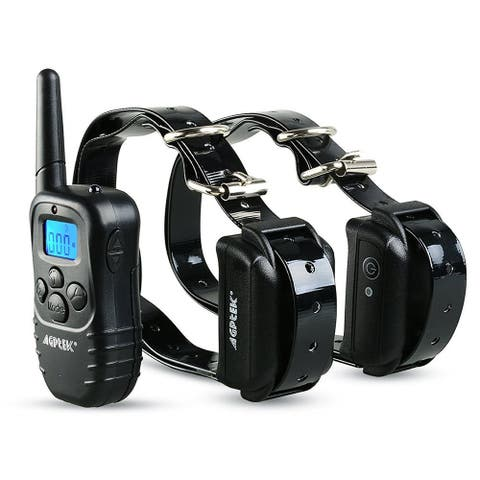 AGPtek Rechargeable Waterproof Training Collar 100 Level Shock Vibra LCD Remote