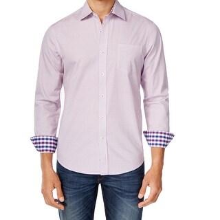 Park West NEW Purple Diamond Print Mens Size Large L Button Down Cotton