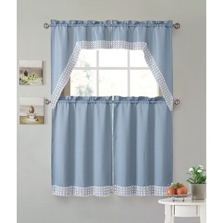 Eleanor 4-Piece Macrame Kitchen Curtain Tier & Swag Set, Blue, 27x36 Inches