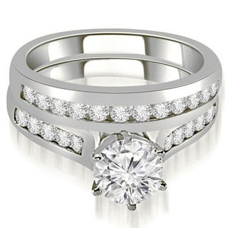 1 16 CT Channel Round Cut Diamond Matching Bridal Set In 14KT Gold White H I