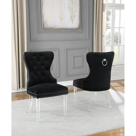 Best Quality Furniture Button Tufted Nailhead Wingback Chairs Acrylic