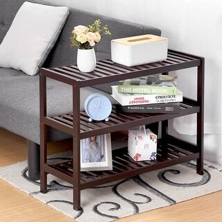 LANGRIA 3 Tier Bamboo Shoe Rack, Free Stand Storage Shelf Organizer