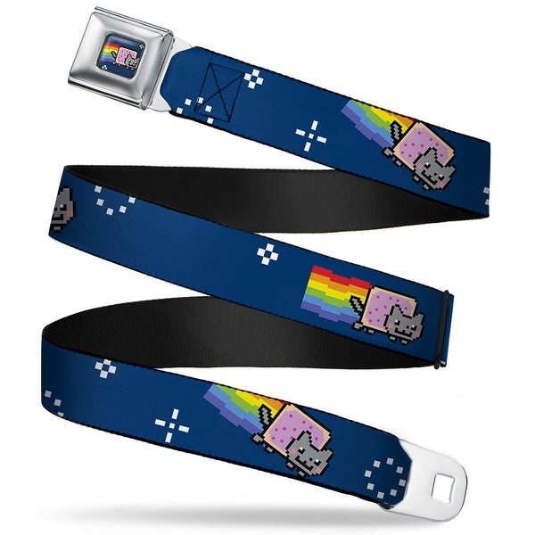 Nyan Cat Blue Full Color Nyan Cat Flying Space Blue2 Webbing Seatbelt Belt Seatbelt Belt