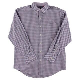 Izod Mens Button-Down Shirt Plaid Long Sleeves