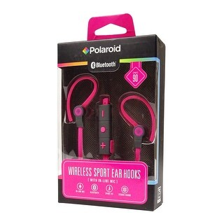 Polaroid Bluetooth Wireless Sport Ear Hooks with In-Line Mic, Pink