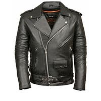 Mens Leather Side Lace Police Style Motorcycle Jacket