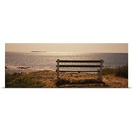 Poster Print entitled Empty bench on the beach, Peaks Island, Casco Bay, Maine