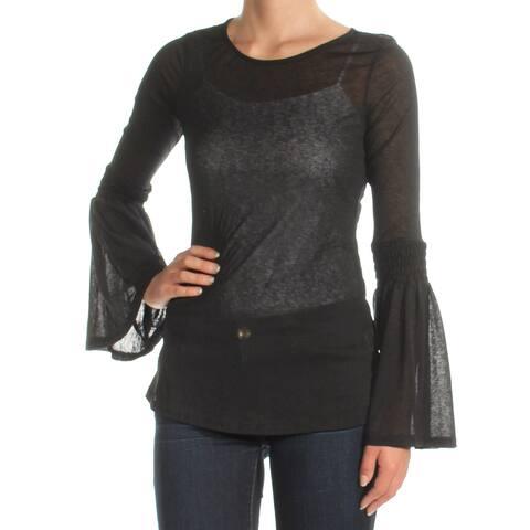 ULTRA FLIRT Womens Black Sheer Bell Sleeve Jewel Neck Top Size: XS
