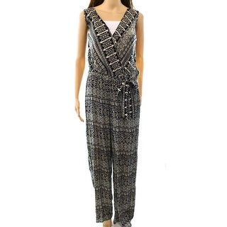 Romeo + Juliet NEW Black Women's Size Large L Surplice Printed Jumpsuit
