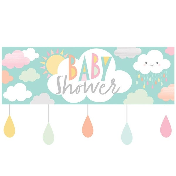 """Pack of 6 Blue and White Sunshine Baby Shower Giant Party Banner 8.5"""""""