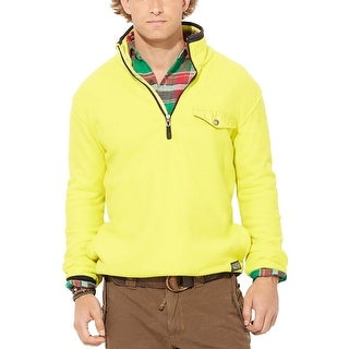 Polo Ralph Lauren Fleece Sweatshirt Large L Bright Yellow and Black Half-Zip