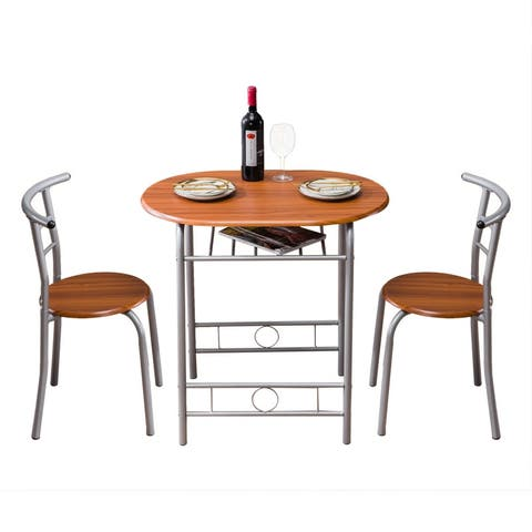 Breakfast Bar Table with 2 Bar Stools Set Kitchen Counter with Bar Chairs Brown