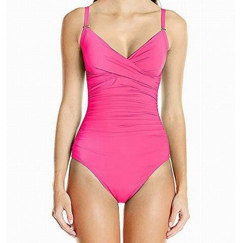 Calvin Klein Pink Women's Size 6 One-Piece Gathered Swimwear
