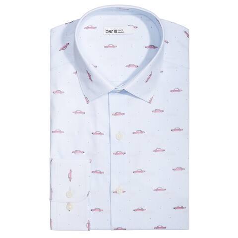 """bar III Mens Car Print Button Up Dress Shirt, Blue, 14""""-14.5"""" Neck 32""""-33"""" Sleeve"""