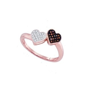 10kt Rose Gold Womens Round Red Colored Diamond Heart Love Fashion Ring 1/10 Cttw - White