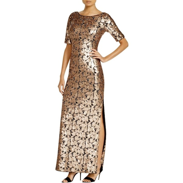 Laundry by Shelli Segal Womens Evening Dress Sequined Side Slit